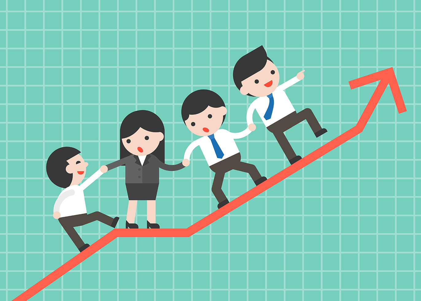 Business people group helping team to climb up graph, business c